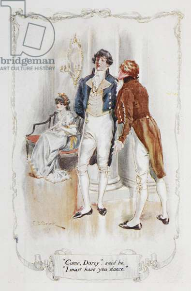 """""""Come Darcy, I must have you dance"""", illustration to 'Pride and Prejudice' by Jane Austen, 1907 (colour litho)"""