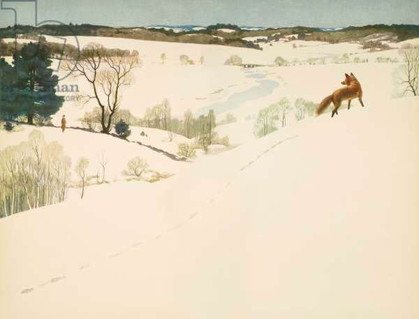 Fox in the Snow, endpaper in 'Men of Concord', by David Thoreau, 1936 (colour litho)