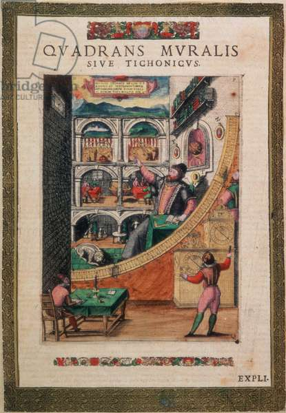 C.45.h.3 The Astronomer Tycho Brahe, aged 40, in 1587, amongst his astronomical instruments, from `Tychonis Brahe, Astronomi Instaurat Mechanica', 1598 (coloured engraving)