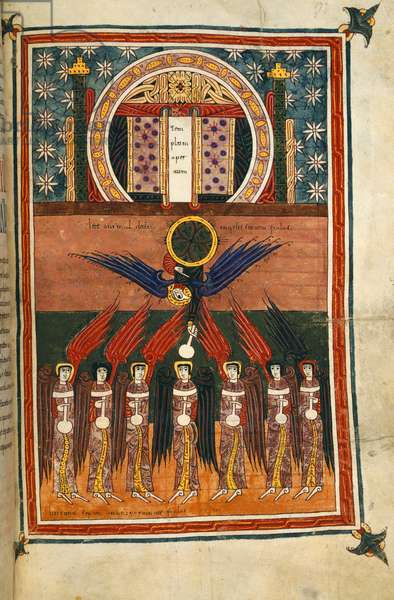 Add. 11695, f.172  The seven plague angels bearing vials issue from the sanctuary. From the Silos Apocalypse, 1109 (vellum)