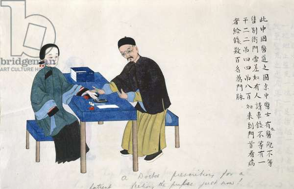 Or 11539 fol.89v Taking a pulse, from an album of scenes of life in China (w/c on paper)