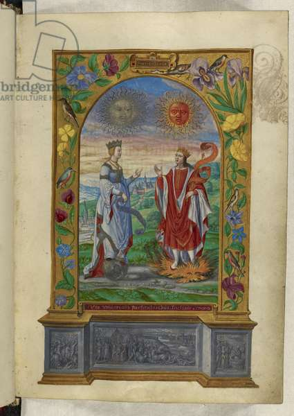 Ms Harley 3469 f.10 Miniature of a King and Queen bearing scrolls, from 'Splendor Solis' by Salomon Trismosin, 1582 (vellum)