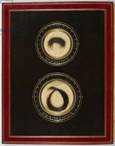 Inside Front Cover, with a locks of hair from Percy Bysshe Shelley and his wife Mary Shelley (mixed media)