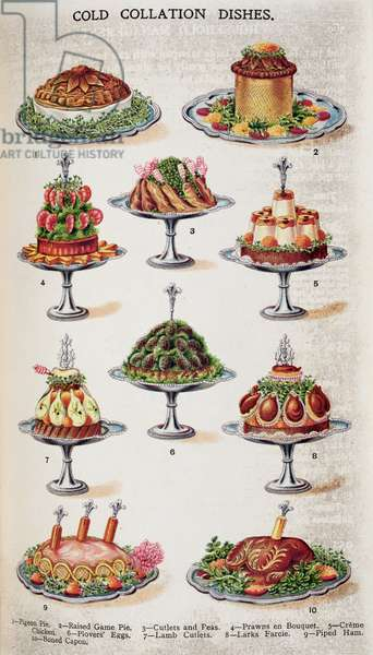 Cold Collation Dishes, from 'Beeton's Book of Household Management' vol.1; edited by Mrs Isabella Beeton, 1859-61 (colour litho)