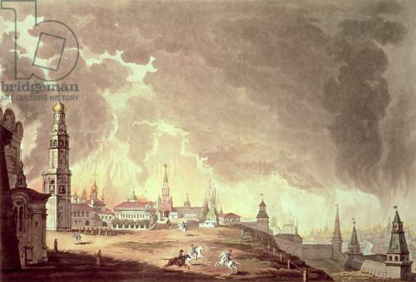 Conflagration of Moscow, seen from the Kremlin, on the entrance of the French army, 14th Sept, 1812, print taken on the spot by John Vendramini
