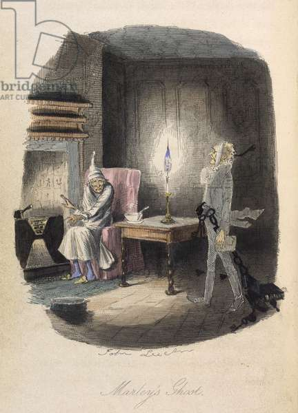 Marley's Ghost. Ebenezer Scrooge visited by a ghost.