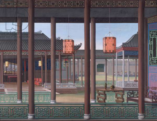 Add. Or. 2193 Drawing of the interior of the house of a Chinese official, 1800-1805 (opaque w/c on paper)