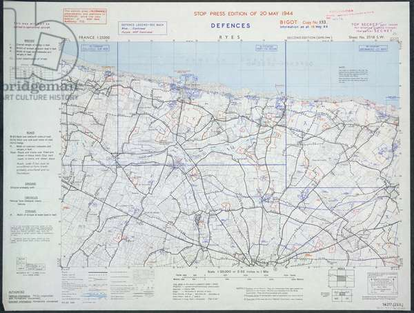 Ryes, France. Gold beach. A map of the Second World War.