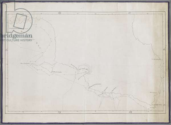 Add MS 11803 L Map of Poverty Bay, east coast of New Zealand from Cape Kidnappers to Cape Runaway, Oct-Nov 1769 (ink on paper)