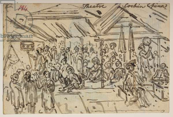 184 'Theatre. Cochin China,', from an Album of 372 drawings of landscapes, coastlines, costumes and everyday life made during Lord Macartney's embassy to the Emperor of China, between 1792 and 1794 (pencil & w/c on paper)