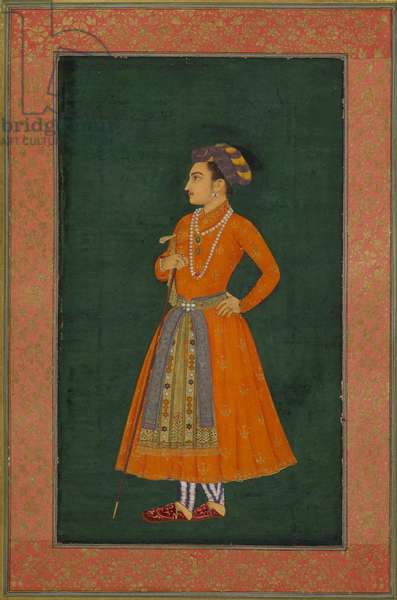 A prince dressed in orange, illustration from ' The Dara Shikoh Album' (ink & gold on paper)