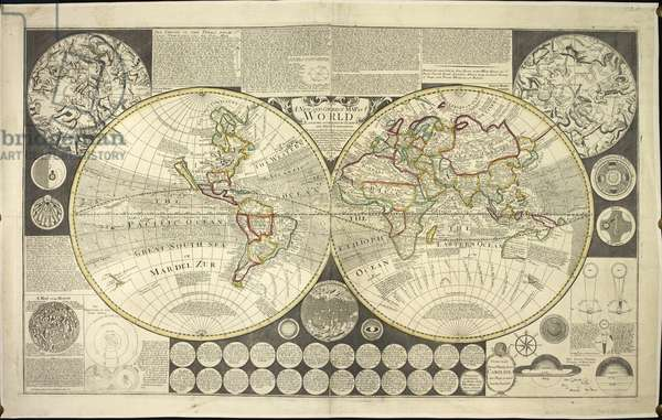 Two hemisphere world map, 1737 (coloured engraving)