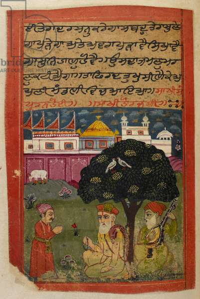 Panj B 40, f.184v, Guru Nanak and Duni Chand, illustration from the 'Biography of Guru Nanak', 1733 (vellum)