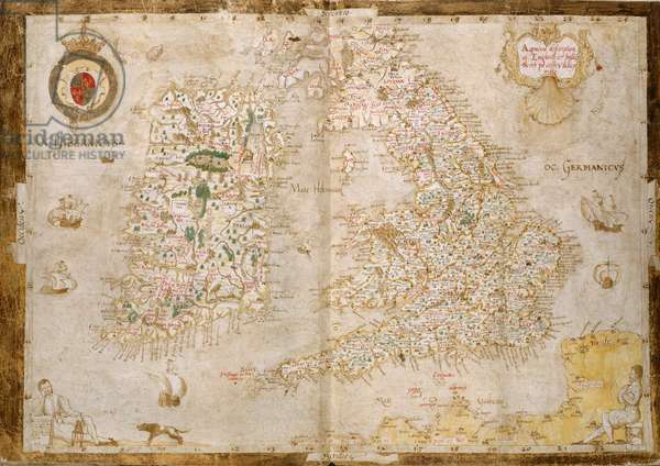 Add. 62540, ff.3v-4, Map of Great Britain and Ireland, from 'Nowell-Burghley Atlas', c.1564 (vellum)