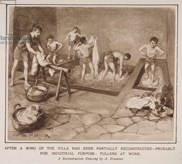 Fullers at work, from an article entitled 'The Country Life of the Romans in England' in the Illustrated London News, 12 July 1924 (litho)