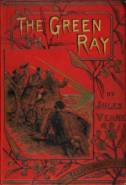 Coloured illustrated front cover of the science/romantic fiction novel by Jules Verne.