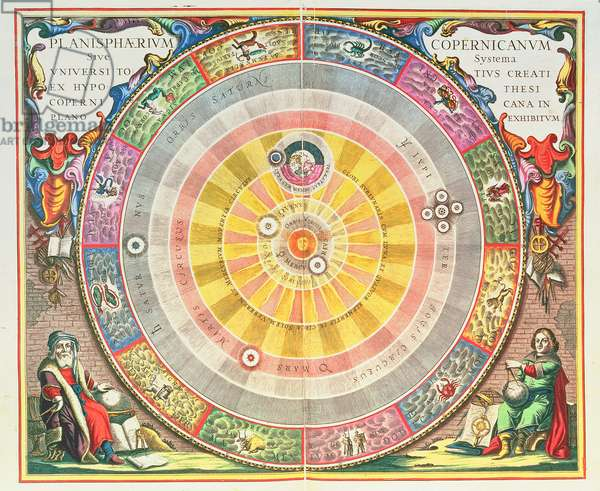 The Copernican System,'Planisphaerium Copernicanum', c.1543, devised by Nicolaus Copernicus (1473-1543) from 'The Celestial Atlas, or the Harmony of the Universe' (Atlas coelestis seu harmonia macrocosmica) Amsterdam, c.1660