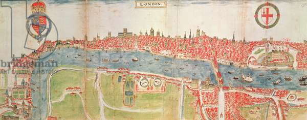 Sloane 2596 f.52 Map of London, the River Thames and London Bridge, 1588