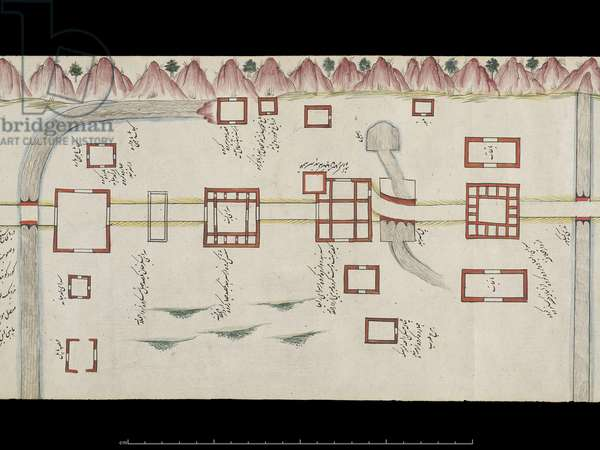 IOS Islamic 4380 Patiala to Ludhiana, from a Scroll depicting 'The Route from Delhi to Kandahar' (ink & colour on paper)