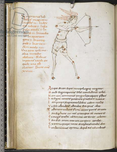 Illustration of the constellation Sagittarius, by an Anglo-Saxon artist in the style of the Winchester school, from 'Aratus' (vellum)