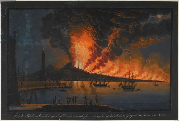 A nocturnal scene; a group of men watch the eruption of Mount Vesuvius from a pier next to a tower, with a harbour and a lighthouse on the left. Sailing ships and the Bay of Naples on the right, and flames and clouds of smoke from the volcano covering the sky in the background