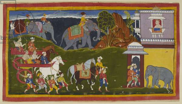 Add 15296 (1) f.4r, Bharata, Shatrughna and their uncle, along with retainers and two led riding horses, with loaded elephants beyond the horizon line, arrive at the palace of the king of Kekaya, Bharata's maternal grandfather, who awaits them looking out of an upper window apparently above the elephant stable.