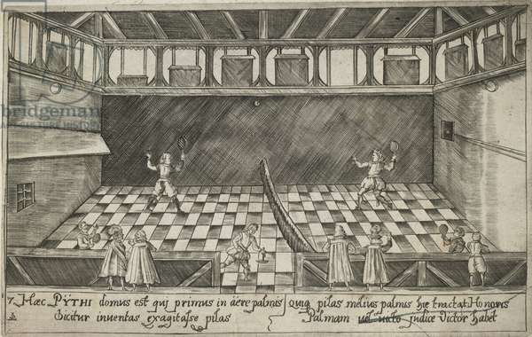 A game of real tennis, c.1600 (engraving)