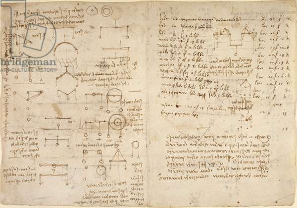 Arundel 263, f.228v, f.227 Notes and diagrams on mechanics from 'Codex Arundel' (pen & ink on paper)