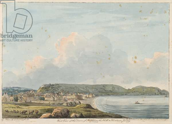 West View of the Town of Saint Helier the Hill and Harbour, Jersey ... G. Heriot delint. et fecit.