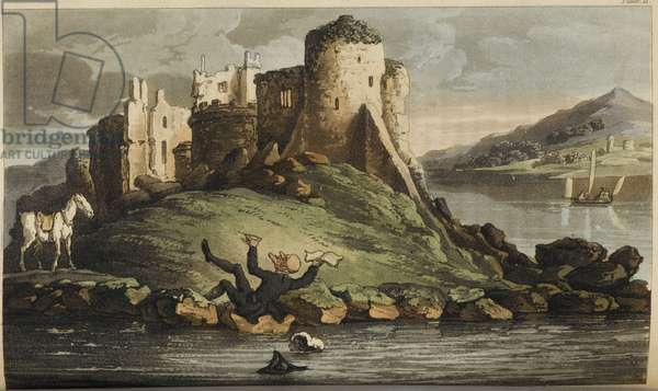 Doctor Syntax falling into water. A ruin is shown in the background
