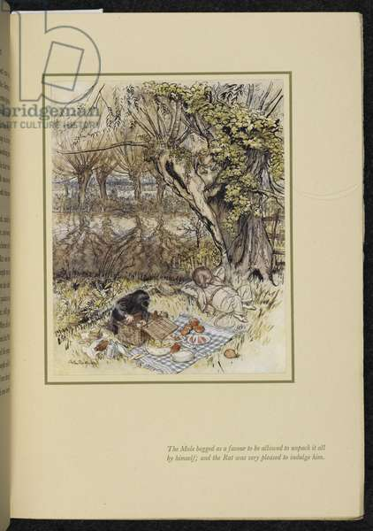 Rat and Mole having a picnic, from 'Wind in the Willows', by Kenneth Grahame, 1940 (colour litho)