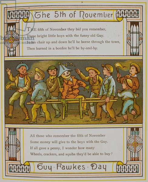 The 5th of November. Guy Fawkes day. A group of boys with a guy. Illustration from 'London town'.
