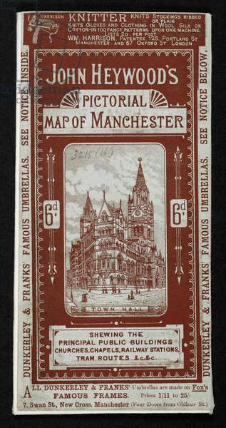 maps 3215.(16.), litho Illustrated front cover.J. Heywood's Pictorial Map of Manchester and Salford.1886