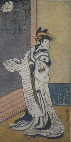 The actor Nakamura Tomijuro II (1786-2-1855), in a female role (colour woodblock print)