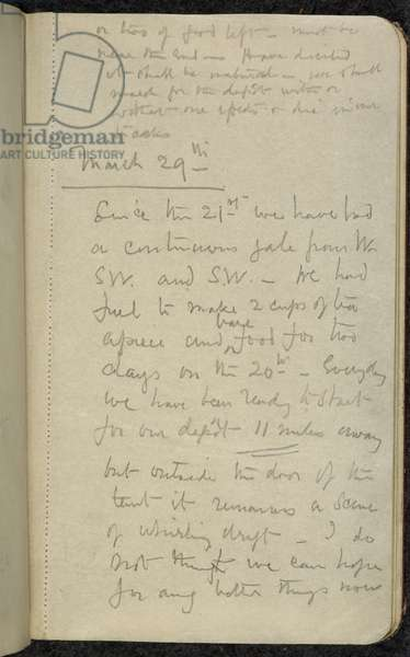 Add MS 51035, f.38r, Scott's last entry before he died, Captain Scott's Diaries, Vol III, 1912 (pencil on paper)