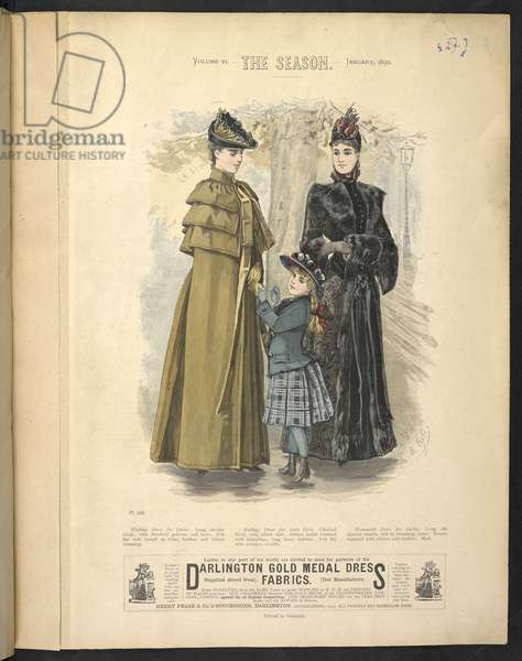 Plate 815,  Waliking dress for ladies,  Walking dress for little girls,  Promenade dress for ladies, The Season : Lady's illustrated magazine, 1890