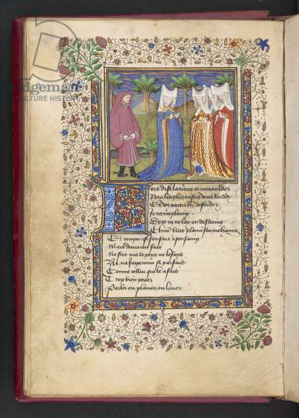 Add MS 21247 f.40v A gentleman and three ladies, from 'Le livre des quatre dames' by Alain Chartier (ink, colour & gold on vellum)