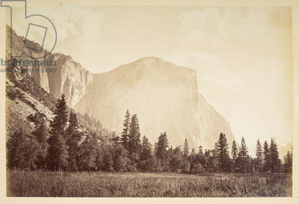 El Capitan Rock, Yosemite Valley, 1870-79 (b/w photo)