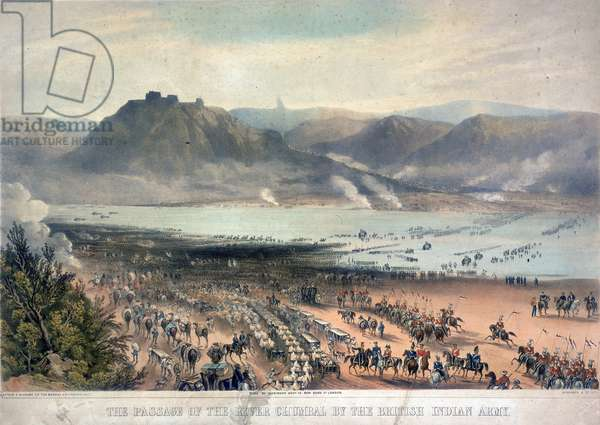 The Passage of the River Chambal by the British Indian Army, 1850 (colour litho)