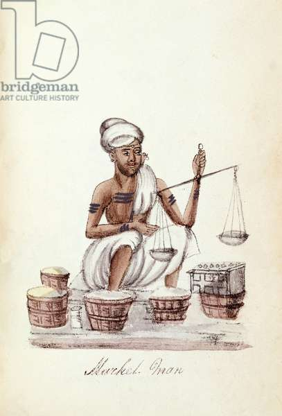 Market man, from 'A Digest of the different Castes of India', by Venkata Ramasvani, published Madras 1837 (colour litho)