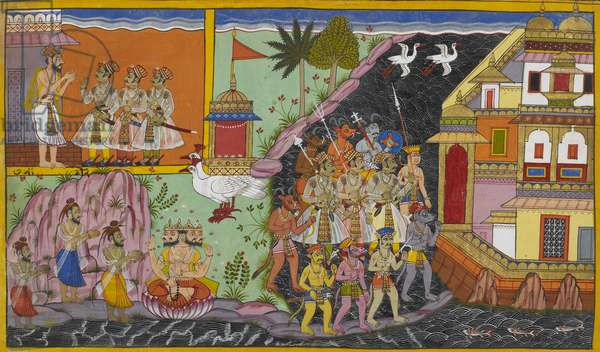 Sukesha's sons practice penance. The three sons of Sukesha are shown on the left with an ascetic. Garbed as ascetics they are then shown below paying obeisance to Brahma and gaining favourable boons from him. Brahma is seated on a lotus having descended from his vehicle of geese. The three sons are then shown on the right accompanied by titans crossing from the mainland to Lanka