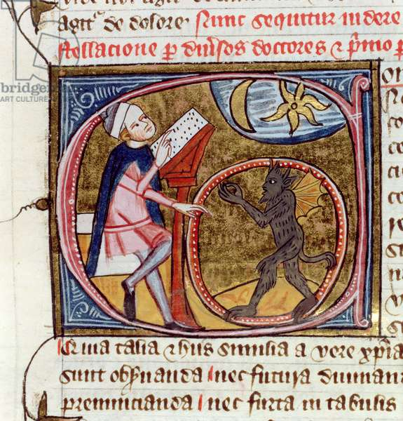 Royal Ms 6 E VI fol.396v Inhabited initial 'C' depicting an astrologer consorting with a demon, from 'Omne Bonum' by James le Palmer, 1360-75 (vellum)