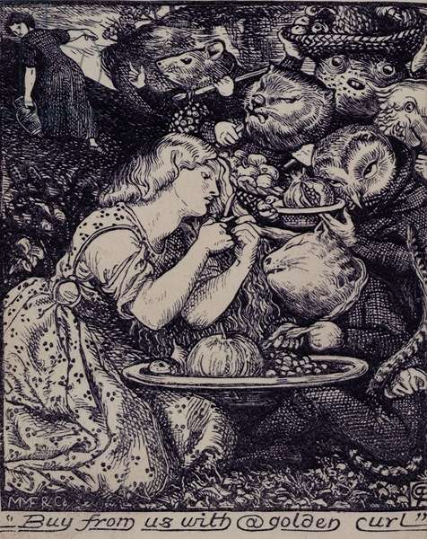 Frontispiece of 'Goblin Market and other poems....' 1862 (litho)