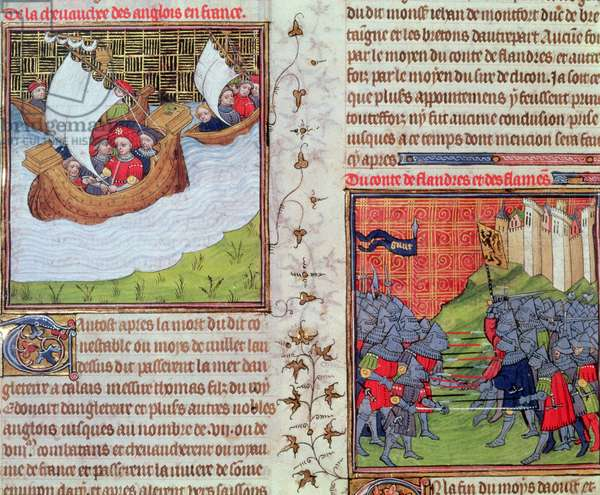 Roy 20 C VII f.219v The English at sea, and the battle of the men of Ghent and the Count of Flanders, end of 14th century (vellum)