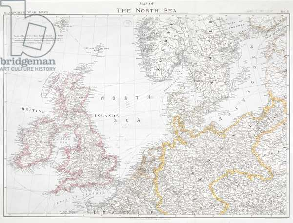 First World War map of the North Sea, 1914.