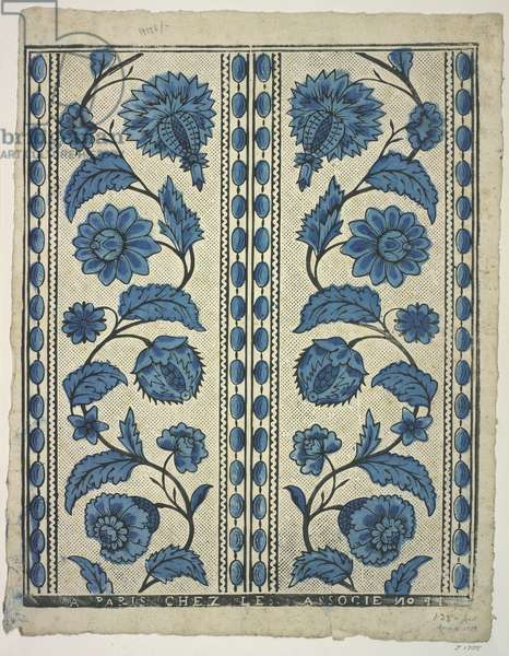 Blue floral design, from 'The Olga Hirsch collection of decorated papers' (colour woodblock print)
