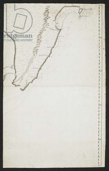 Chart showing part of the northisland of New Zealand. The two capes are indicated, Cape Teerawhitte and Palliser.