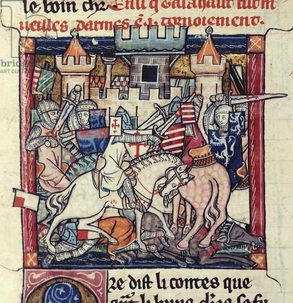 Add. 10294 fol.39 Galahad and Gawain in tournament, from 'La Queste del Saint Graal', c.1316 (vellum)
