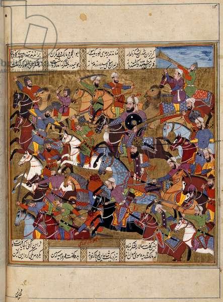 Muslims fighting Dara's army, from 'Khavarnama', 1686 (vellum)