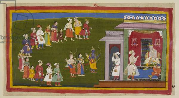 Add 15296 (1) f.48r, Rama and Laksmana, dressed as before but armed with sword, bow and arrows, accompanied by Sita, have walked humbly through the streets thronged with grieving people to their father's palace. Sumantra announces them to the enthroned Dasaratha and to Kaikeyi, who is seated beside him.